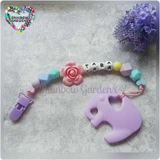 Handmade Customized Pastel beads Pacifier Clip with letter beads + Lilac Elephant teether