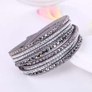 ** Trendy** Tiered Leather Bracelet with crystal