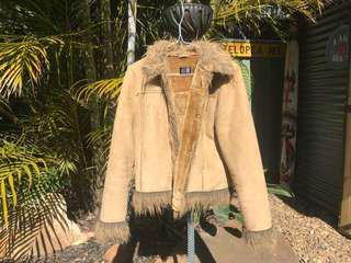 Miss shop vintage style jacket faux fur trim