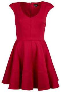Topshop ribbed v front dress in red