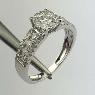 18K白金戒指 77份鑽石 18K Withe gold Ring 0.77ct Diamond