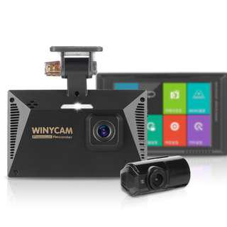 "Winycam HX200 Korean-made Dual HD camera (front & rear) with 3.5"" LCD touchscreen and Parking surveillance"