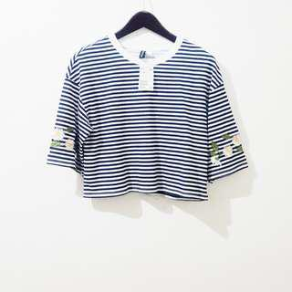 H&M striped embroidered boxy top
