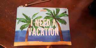 Authentic Kate Spade 'I need a vacation' clutch