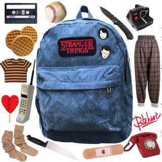 Stranger Things Corduroy Backpack with Enamel Pins of Eleven and Mike