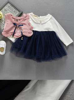 Baby Girl Dress 1 set with cute sleeveless jacket