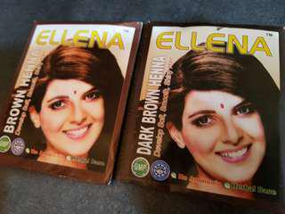 Henna! $3.90ea, 3 packs for $10. Natural hair colour. No Ammonia, Herbal based. Colours avail: D.brown & Brown.