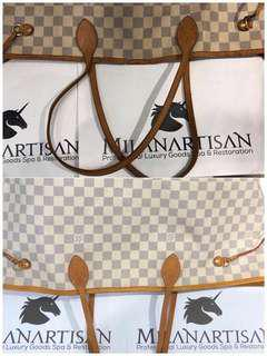 TATTERED & TORN LOUIS VUITTON NEVERFULL BAG WITH TRIMMING REPLACED AND BAG CLEANED BACK TO HER BEAUTIFUL SELF !!!