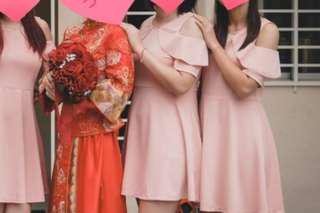 Bridesmaid's pink dress L size