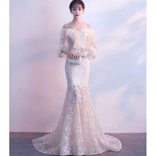 Gown Collection - Pure Fairy Elegant Off Shoulder Long Bubble Sleeves Ribbon Top Ponytail Gown