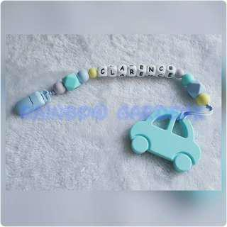 Handmade Pastel beads Pacifier Clip with customisation of name + Car Teether