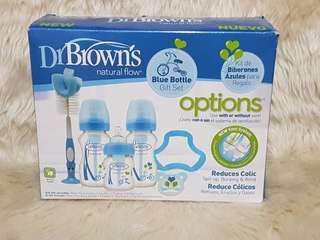 Dr. Browns blue baby bottle gift set