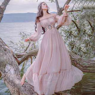 Dress Collection - Classical Literature Feel Vintage Style Long Sleeves Long Dress