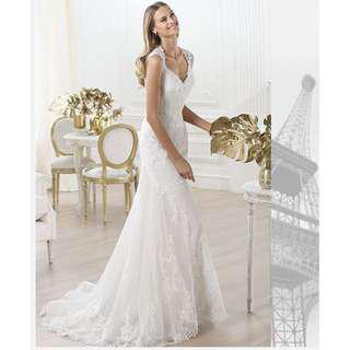 Wedding Collection - Wide V Neck Sleeveless Embroidered Mermaid Style Wedding Gown