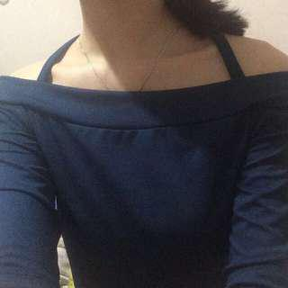 [FREE ONGKIR JABODETABEK] Sabrina / Off-Shoulder Navy Top