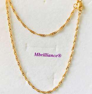 Glittery twist chain necklace, 916 Yellow Gold