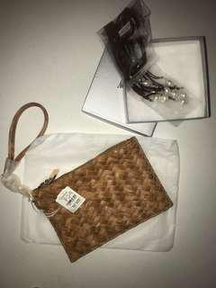 Neiman Marcus Brown Woven Wristlet/Bag/Purse/Pouch with necklace