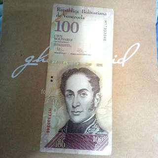 Uang Asing Bolivar 100 - Venezuela