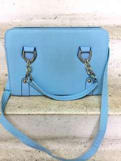 2 Way Carry Light Blue Handbag