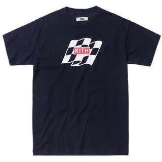 Kith Flag Wave Tee / T Shirt Navy Blue Box Logo Embroidered