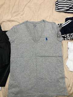 Polo Ralph Lauren grey v neck top