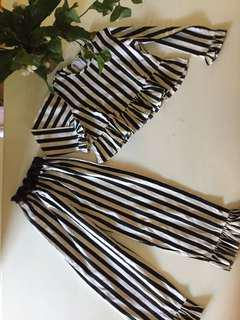 Set anak striped black and white  CLASY