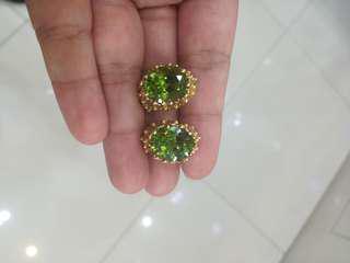 5 carat each Peridot earrings in 14k gold
