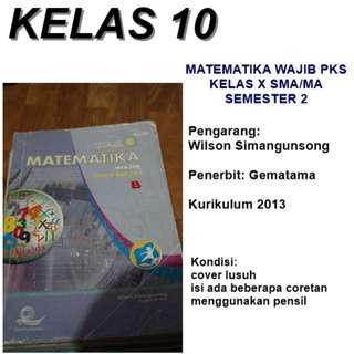 Buku MATEMATIKA WAJIB PKS semester 2. Wilson Simangunsong. Gematama