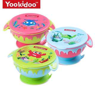 Kitchen- Eco-Friendly Cartoon Stay Put Suction Bowl Heat Resisitant Spill Proof Baby Bowls with Snap Tight Lid Perfect for Babies & Toddlers BPA Free