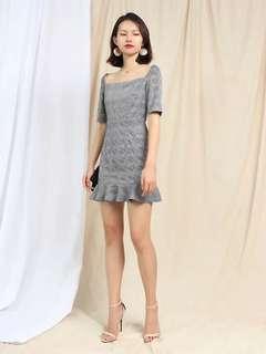 Grey checkered flutter hem dress