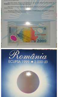 Romania 2000 lei in folder commemorative