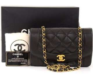 Authentic Chanel Lambskin Lady Diana Classic Flap Bag