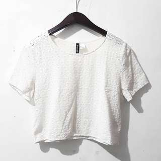 H&M eyelet cropped top