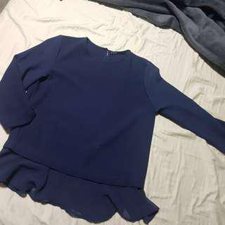 3/4 sleeve Blue Blouse