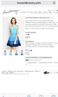 BNIP LNB LAB PANTONE GRADIENT FLARE DRESS BLUE