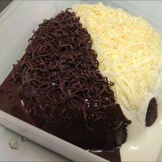 Kek coklat cheese lava leleh