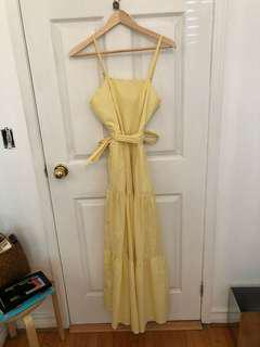 J Crew Pale Yellow and White Tiered Sundress