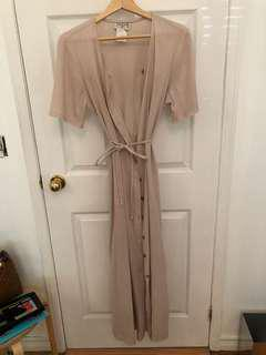 Beige Button Down Tie Dress
