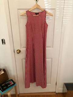 Red and White Gingham Maxi Dress w Tie Back