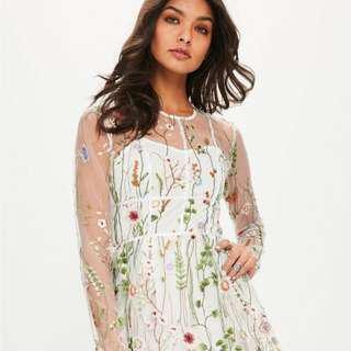Missguided Floral White Mesh Dress