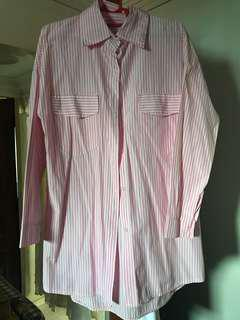 Pink and white striped button shirt