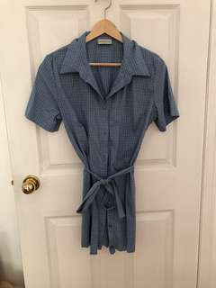 Blue Gingham Tie Dress W Button Down Sz XS-S