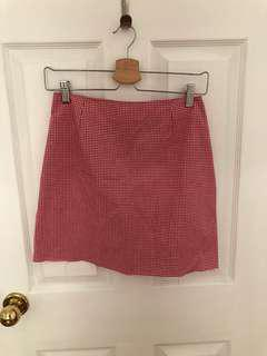 Red and White Gingham Mini Skirt Sz 2