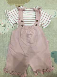 🚚 條紋粉紅吊帶褲