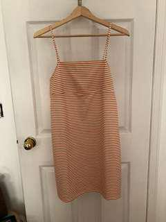 Zara Pale Orange and White Striped Sun Dress Sz Small