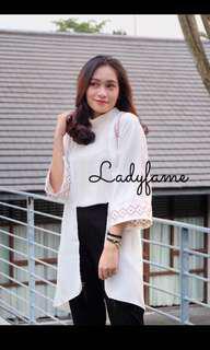 LADYFAMESHOP White Long Cardigan