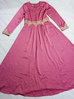 Rose pink satin princess dress