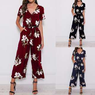 da43872960 LEG CASUAL SHORT SLEEVE ROMPER LOOSE JUMPSUIT V NECK PLAYSUIT FLORAL PRINT.
