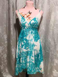 Ginatricot/zara teal floral dress