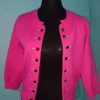 Pink Military Cut Cardigan